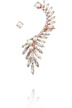 Ryan Storer Rose gold-plated, Swarovski crystal and pearl ear cuff | NET-A-PORTER