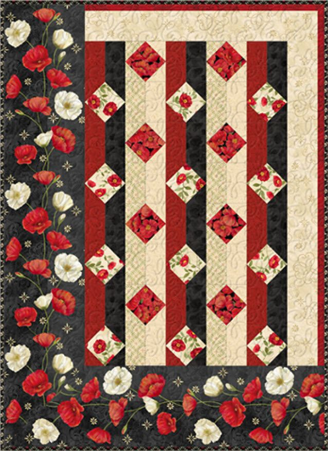 Poppy Celebration - Midnight Poppies Free Quilt Pattern