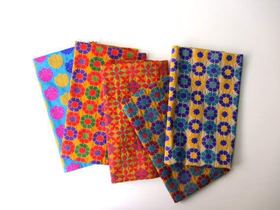 Velvet silk craft pack colorful India silk brocade 5 by SilksByUmf, $85.00