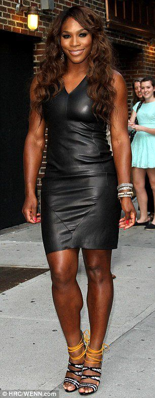 #Gorgeous 16X Slam Champion Serena Williams rocking the black leather mini dress & black & yellow crystal covered heels....The Late Show With David Letterman appearance tonight --- Via Serena Williams fan club  8/22/13 #WorldNumberOne