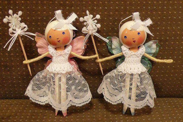 Snow Fairies Clothespin Doll