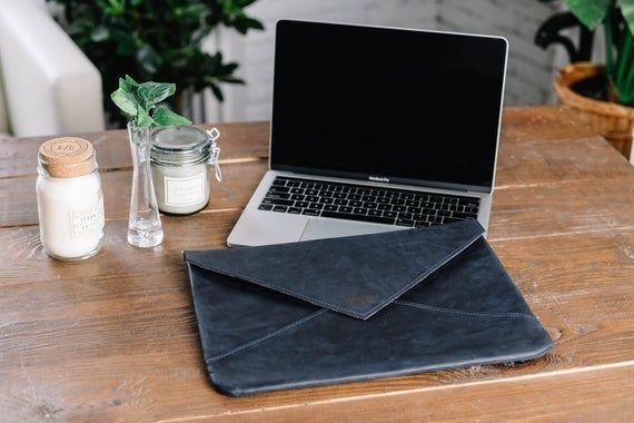 Blue Leather envelope sleeve,Macbook case,Laptop sleeves,Laptop case macbook air 13,Macbook pro slee