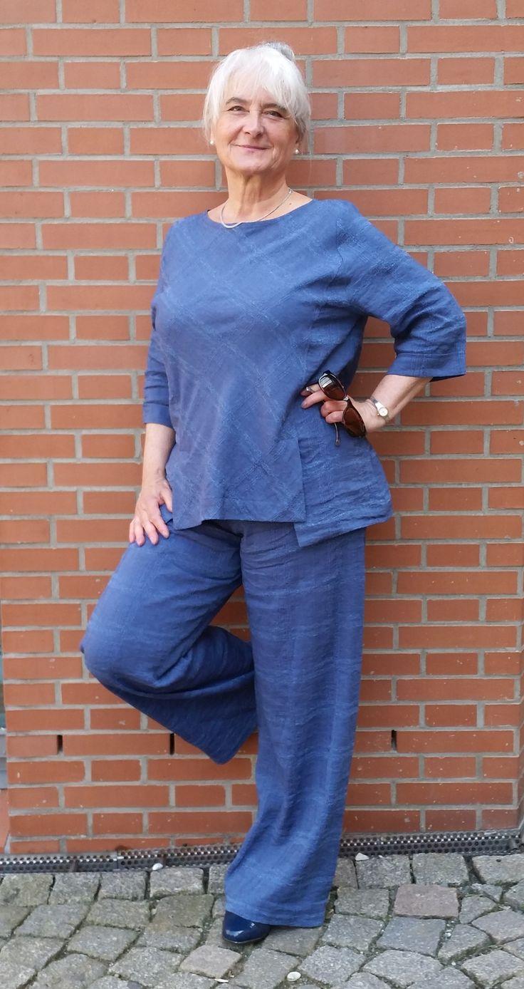 Blaue stoffhose welches oberteil