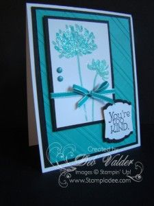 handmade thank-you card ... white and aqua with black accents ... luv the design ... layering with black makes it pop .. two step stamped flowers ... candy dots and sweet ribbon ... luv this card!! ...Stampin' Up!