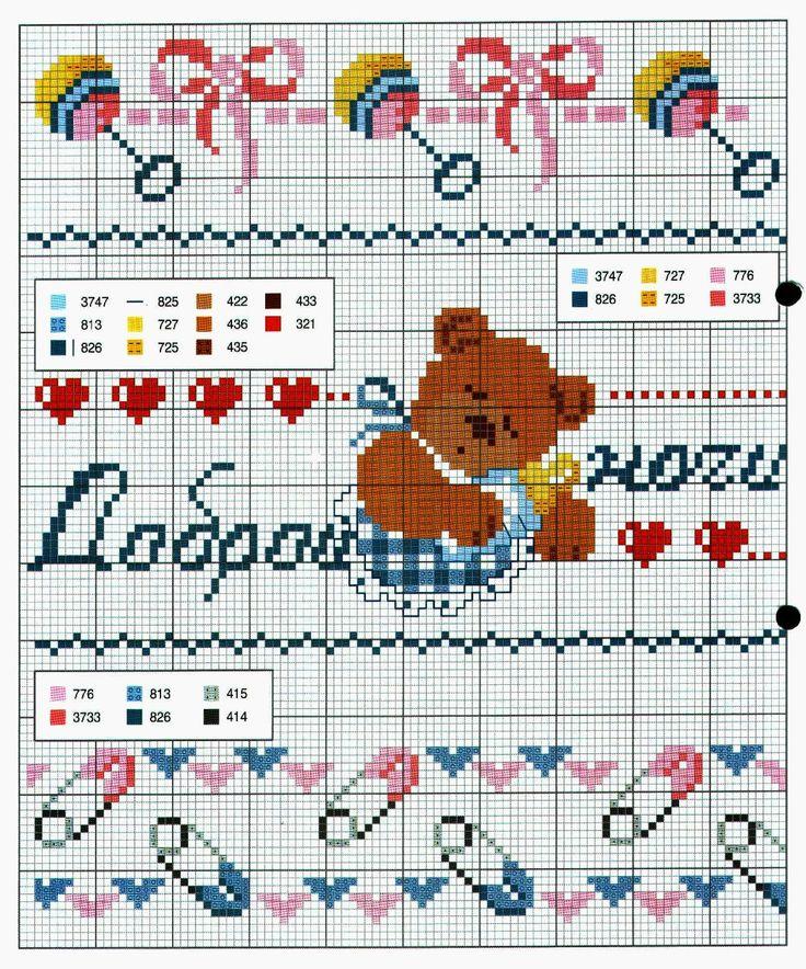 Ricami, lavori e schemi a puntocroce gratuiti: Tanti schemi punto croce per bambini- lenzuolini e culle