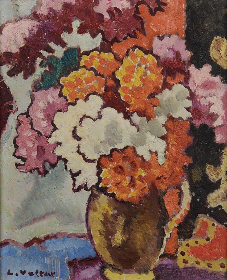 Louis #VALTAT# (1869-1952)  Bouquet de dahlias, circa 1938 Huile sur panneau signée en bas à gauche 27 x 21,5 cm Vendu 19 375€ ( frais compris)