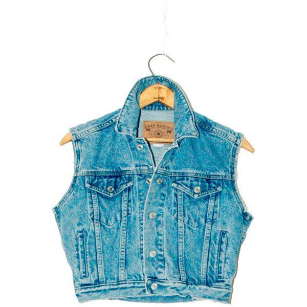 Cropped Denim Vest / Blue Jean Crop Top Vest // Rustic Grunge // 90s... ($18) ❤ liked on Polyvore featuring outerwear, vests, jackets, shirts, denim vest, denim waistcoat, blue waistcoat, sleeveless waistcoat and sleeveless denim vest
