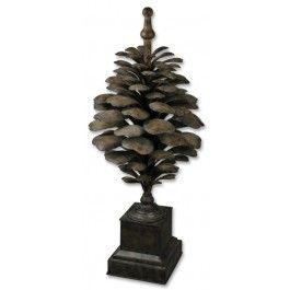 Oversize bronze pinecone sculpture