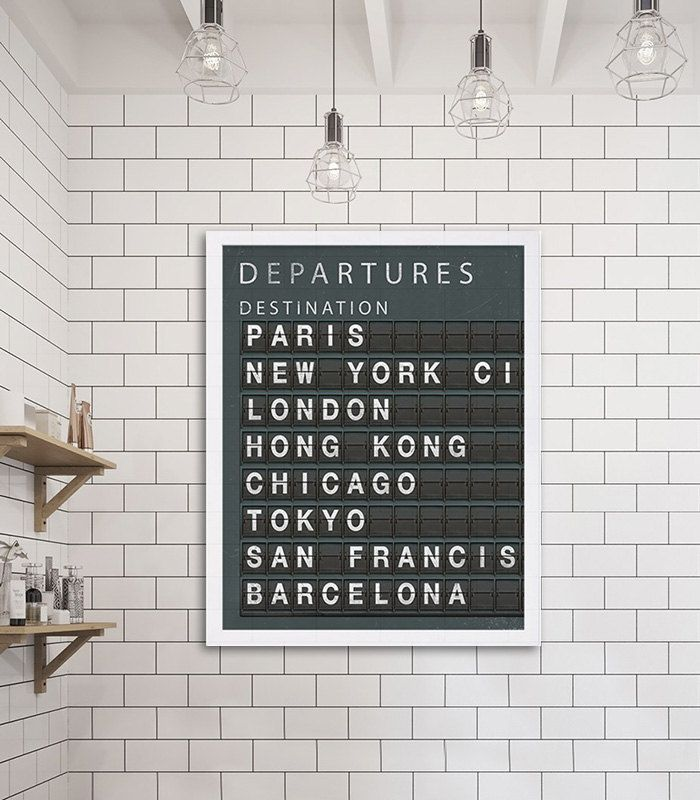 Travel Art Print - City Destination Board CUSTOMIZE CITIES or ANY OTHER TEXT FREE OF CHARGE!  Take a look at more art prints in our home decor shop. www.etsy.com/shop/CocoAndJamesHome ......................................................................................  {DETAILS} ♥️ Professionally printed on heavy matte finish archival photo paper (rated for 100+ years) ♥️ Ships within 3 business days of order ♥️ Prints are unmatted and unframed **Frame not included** ♥️