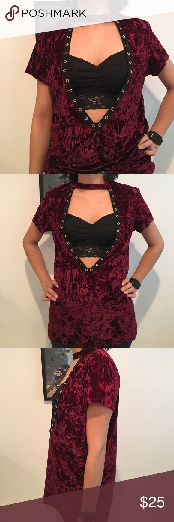 Red Faux Velvet v cutout shirt Faux velvet red t shirt! Could be worn as a dress if short enough. Model is 5'7! Flowy and comfortable! Tops