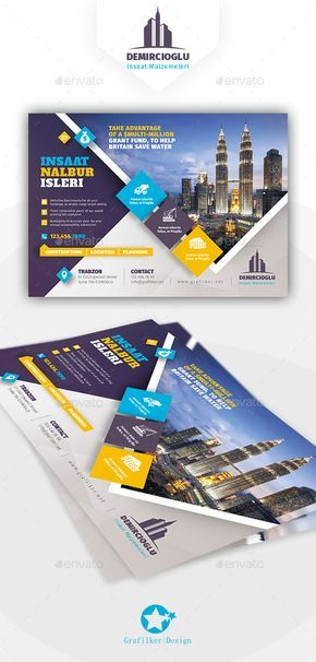 Construction Flyer Design Templates - Corporate Flyer Template PSD, InDesign INDD. Download here: https://graphicriver.net/item/construction-flyer-templates/17202624?ref=yinkira