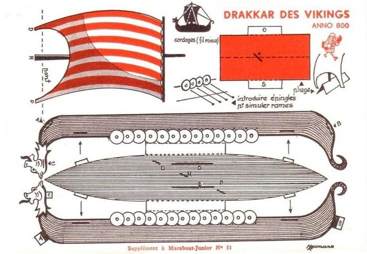 Free Printable Viking ship, vintage papercraft. | crafting | Pinterest | Viking ship, Vikings ...