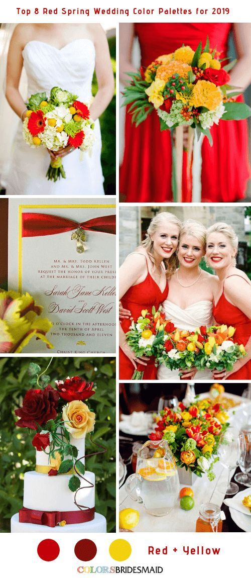 Top 8 Red Spring Wedding Color Palettes For 2019 Red Wedding