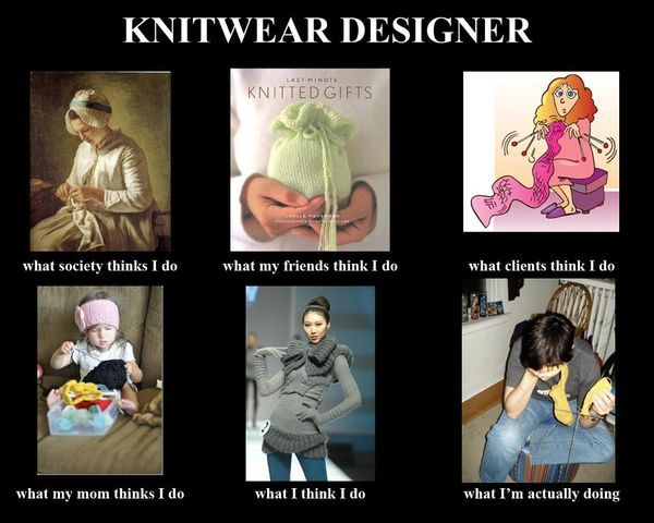 Funny #knitting poster for Knitwear Designers.  What society thinks I do.