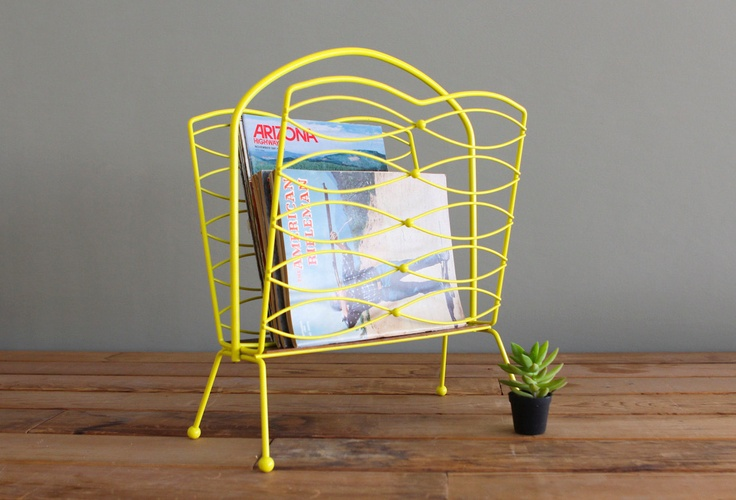 Mid Century Modern Upcycled Magazine Rack Vintage Record Holder.  Another item from castandcrew on etsy.