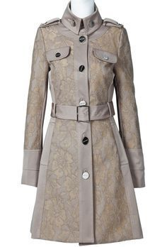 Khaki Long Sleeve Epaulet Belt Trench Coat