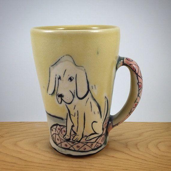 Yellow Dog Large Mug by Chandra DeBuse by DeBuseCeramics on Etsy