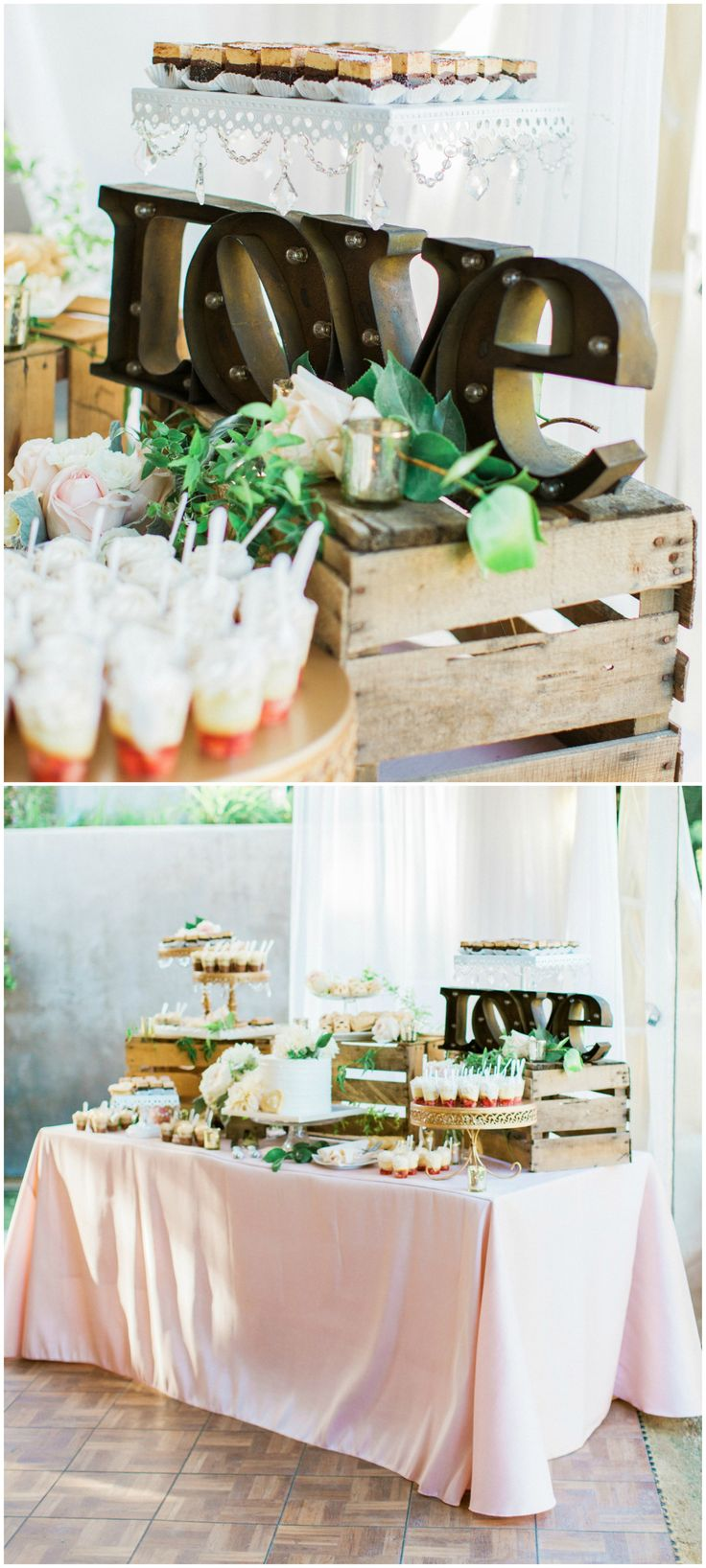 """Wedding reception dessert table, """"LOVE"""" sign, pastel pink tablecloths, bite-size treats // Pauline Conway Photography"""
