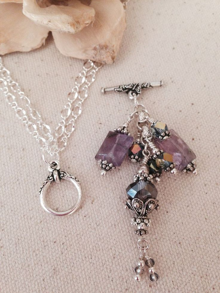 Lovely Lavender Beaded Dangle Necklace