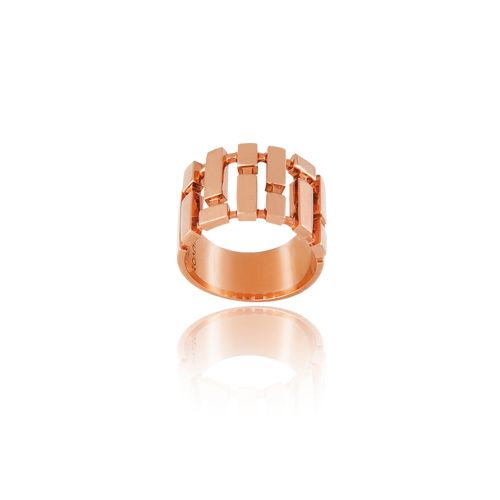 Cubic ring in 18ΚΤ pink gold.
