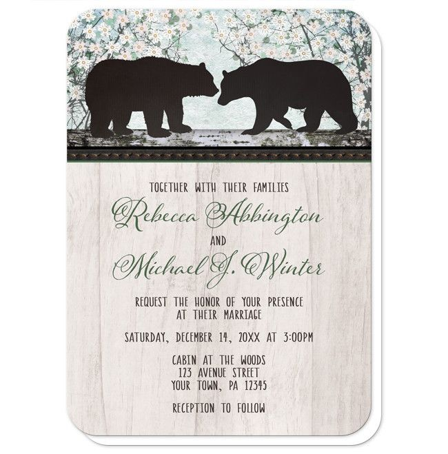 Bear Wedding Invitations designed with two silhouette bears over a whimsical floral trees illustration. Your wedding details are printed in a whimsical narrow cabin brown font with the couple's names in a green script font over a light rustic wood texture image background. These bear invitations are perfect for the outdoorsy or woodsy couple. Their light and illustrated floral design make them a great choice for your Spring and Summer wedding celebrations.