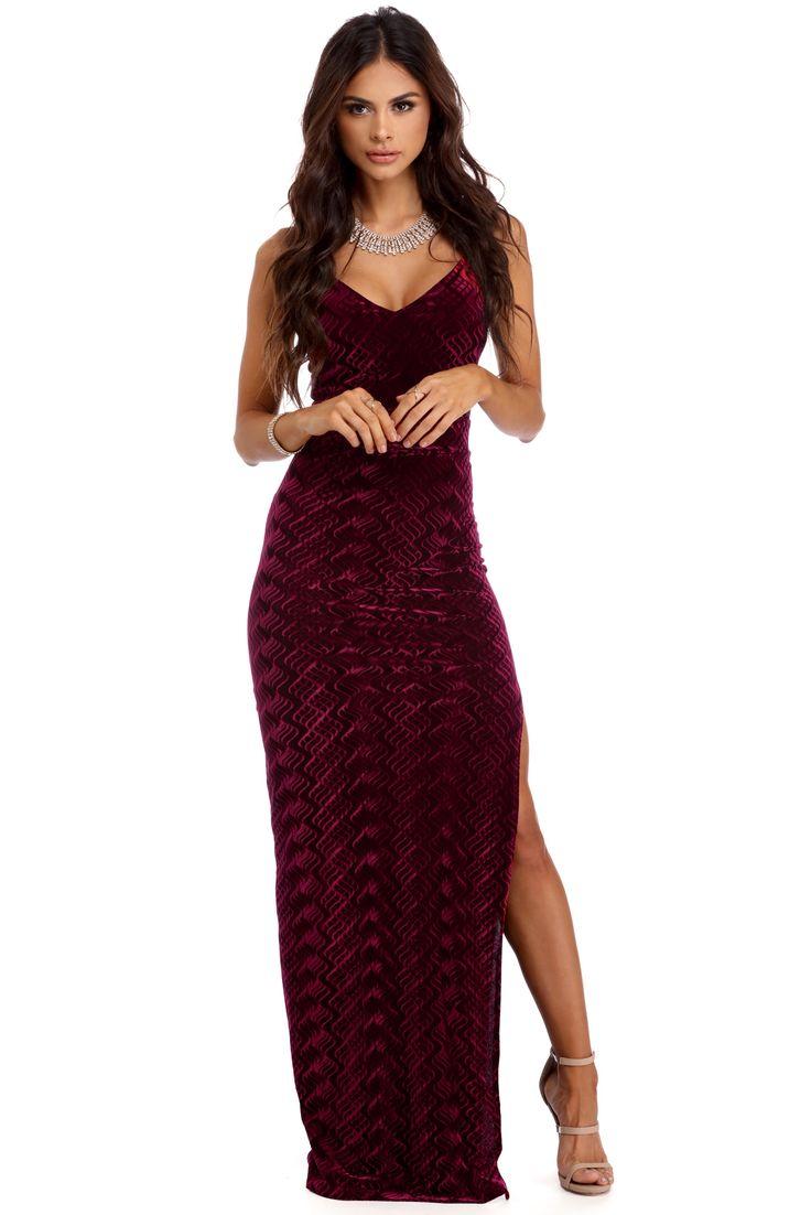 Nicole Burgundy Velvet Formal Dress