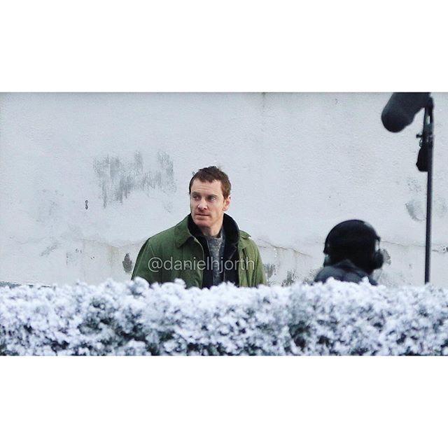Michael Fassbender filming The Snowman in Oslo today! [smiley] #TheSnowman #Snømannen #MichaelFassbender