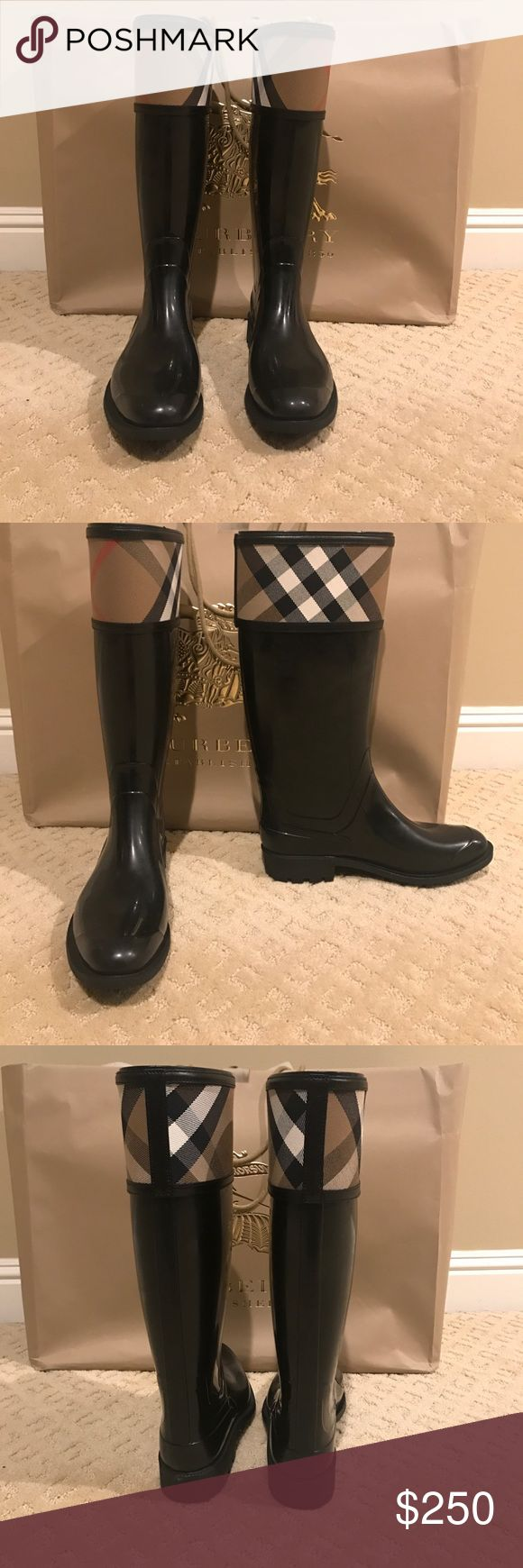 Burberry Crosshill Rain Boot (Women) Never worn. Perfect condition. Comes with box and bag. Burberry Shoes Winter & Rain Boots