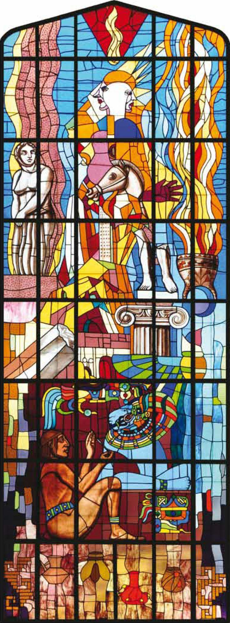 """Las Artes, vitral. Autor: Roberto Montenegro. 1933-1934. Ubicación: Aula Magna """"Fray Servando Teresa de Mier"""", Colegio Civil Centro Cultural Universitario."""
