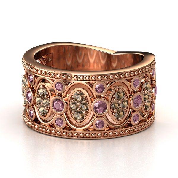 14K Rose Gold Ring with Rhodolite Garnet & Smoky Quartz - Renaissance Band