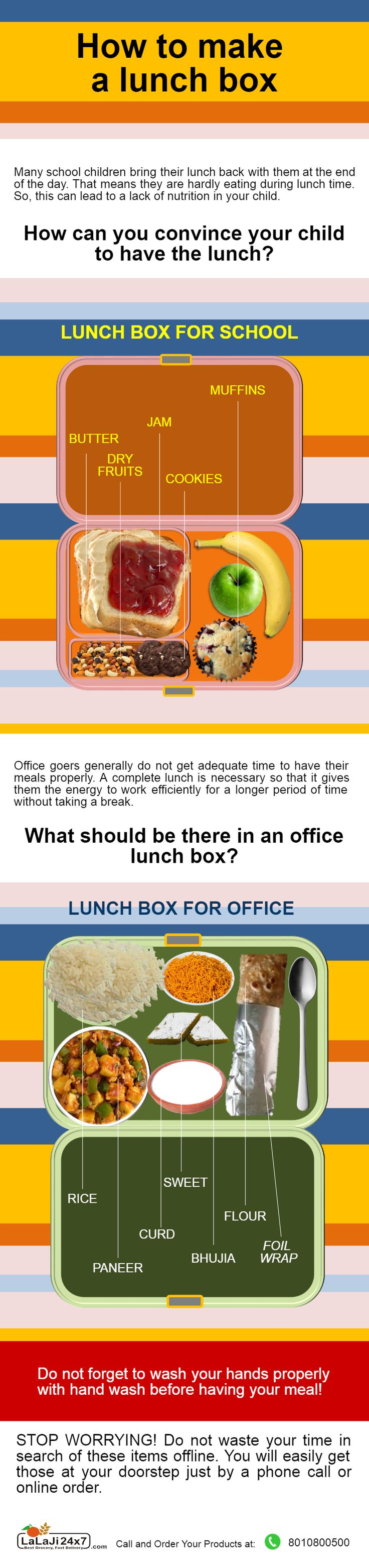 Follow these simple steps, showed in this infographic to make a healthy lunch box for your school child and Office goers family member. This chart will help you give the way to add nutrition in their lunch box. This infographic is created by Lalaji24x7 Team.