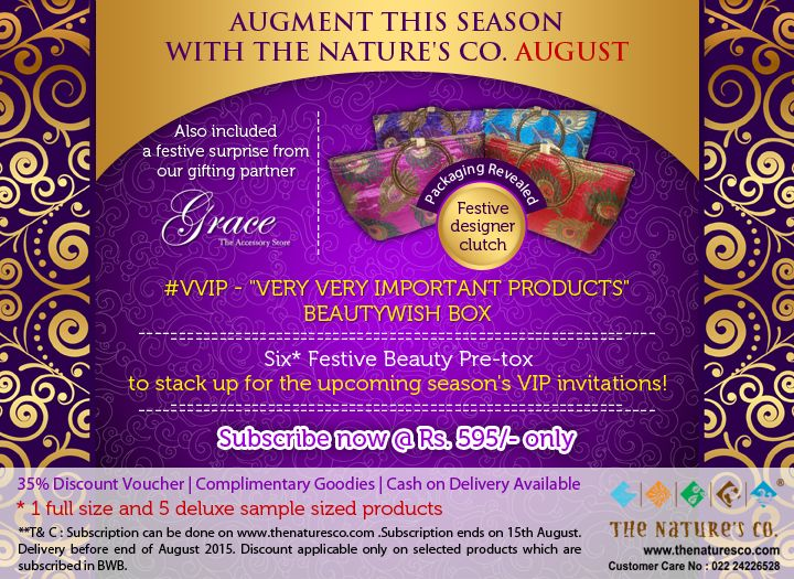 #PackagingRevealed Our #August #BeautyWishBox #VVIP - Very very important products for you to glow and shine amongst all your Festive invitations…get 1 full sized product and 5 deluxe sized products with added festive accessories from @gracetheaccessoriesstore and other discount vouchers @595/- only! Now open for #subscription - order now #BeautyBag #BeautyBox #Natural #Vegan #BeautyCare #SkinCare #HairCare