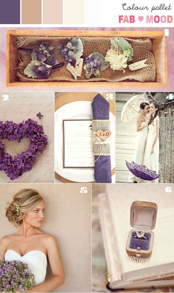 Brown, Champagne, Nude  Purple Inspiration Board add a little grey and it's my perfect wedding palette :)