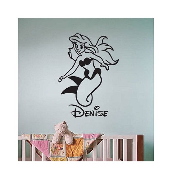 Personalizzati Little Mermaid vinile Wall Decal Sticker grande divertimento di camera da letto dei bambini della scuola materna fata principessa disney camera sogno libro ragazza tinkerbell