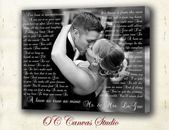 Just Married Custom Canvas Gift with Your  Lyrics, Wedding Song, Vows, Love Story. Unique Custom Wall Decor. $49.95
