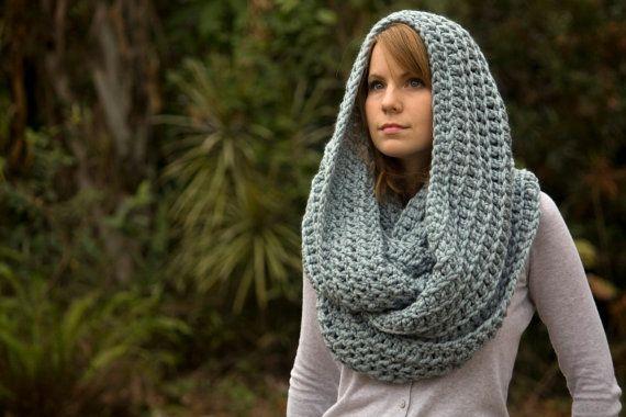 Light Blue Infinity Scarf, Oversized Hooded Cowl, Crochet Chunky Women's Winter Accessories