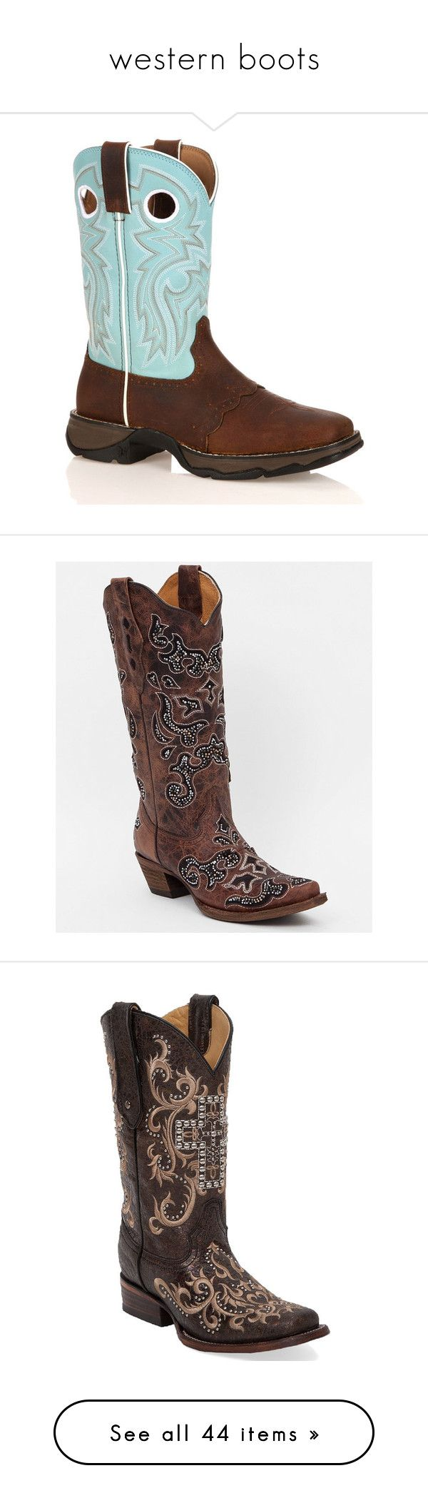 """western boots"" by amber-lanehart ❤ liked on Polyvore featuring shoes, boots, blue, western cowgirl boots, square toe boots, blue boots, slip on boots, mid-calf lace up boots, brown and cut out cowboy boots"
