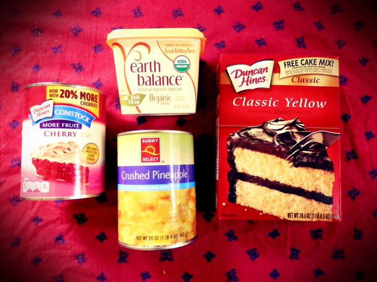 1 Box Vegan Yellow Cake Mix + 1 20-oz. Can Crushed Pineapple + 1 21-oz. Can Cherry Pie Filling + 1 Cup Vegan Butter = Fruity Dump Cake