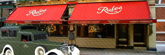 Rules is the oldest restaurant in London and it serves traditional British food.