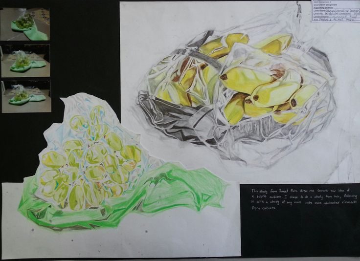 Anoof moved away from cubism and took a look at the work of Janet Fish. He tried coloured pencils for these studies.  Inspired by the shines on the bunch of bananas inside a plastic bag he recognised elements of analytical cubism in the geometric shapes he saw on the folds of the plastic bag. Setting up a similar still life arrangement, Anoof did a study from a bag of grapes and exagerated the many geometric patterns he could see.