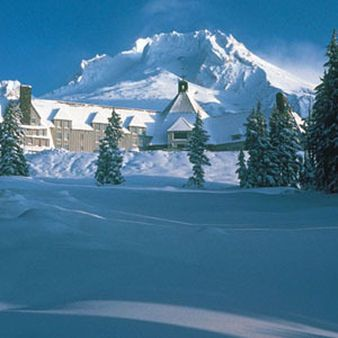 Timberline Lodge on Mt Hood is beautiful and wonderfully rustic inside. An exceptional place to eat and lodge.