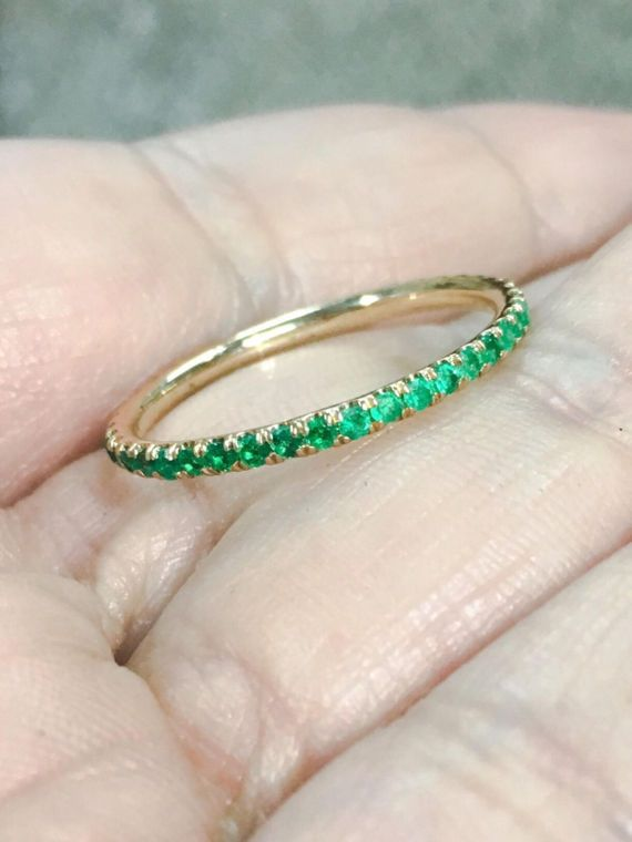 Emerald Eternity Band 14K Pave Full Eternity Natural by SARRIEL