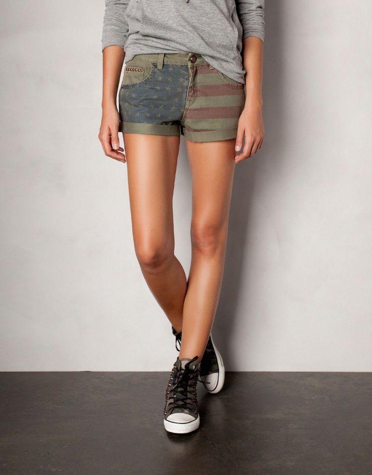 Pull and Bear Zara Group Shorts American USA Flag Army Studded 7 July   eBay