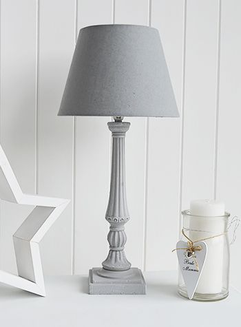 Grey table lamp with shade