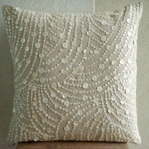 mother of pearl pillow by ramona-rustic linen with chic accent pattern