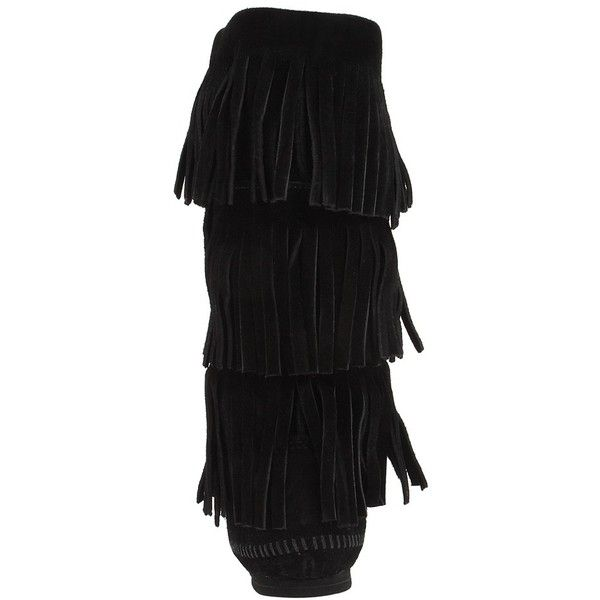 Minnetonka Calf Hi 3-Layer Fringe Boot (Black Suede) Women's Pull-on... ($98) ❤ liked on Polyvore featuring shoes, boots, black suede, mid-calf boots, pull on boots, suede mid calf boots, suede boots, slip on boots and black pull on boots