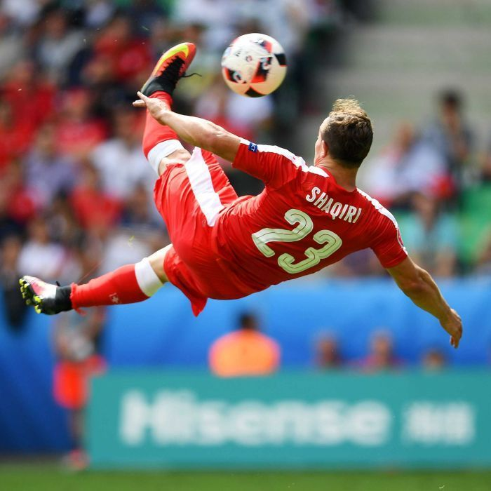 Xherdan Shaqiri hits a spectacular bicycle-kick goal against Poland