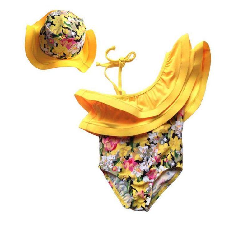 Newborn Baby Girls  2 Piece Floral Hat   Off Shoulder Swimsuit
