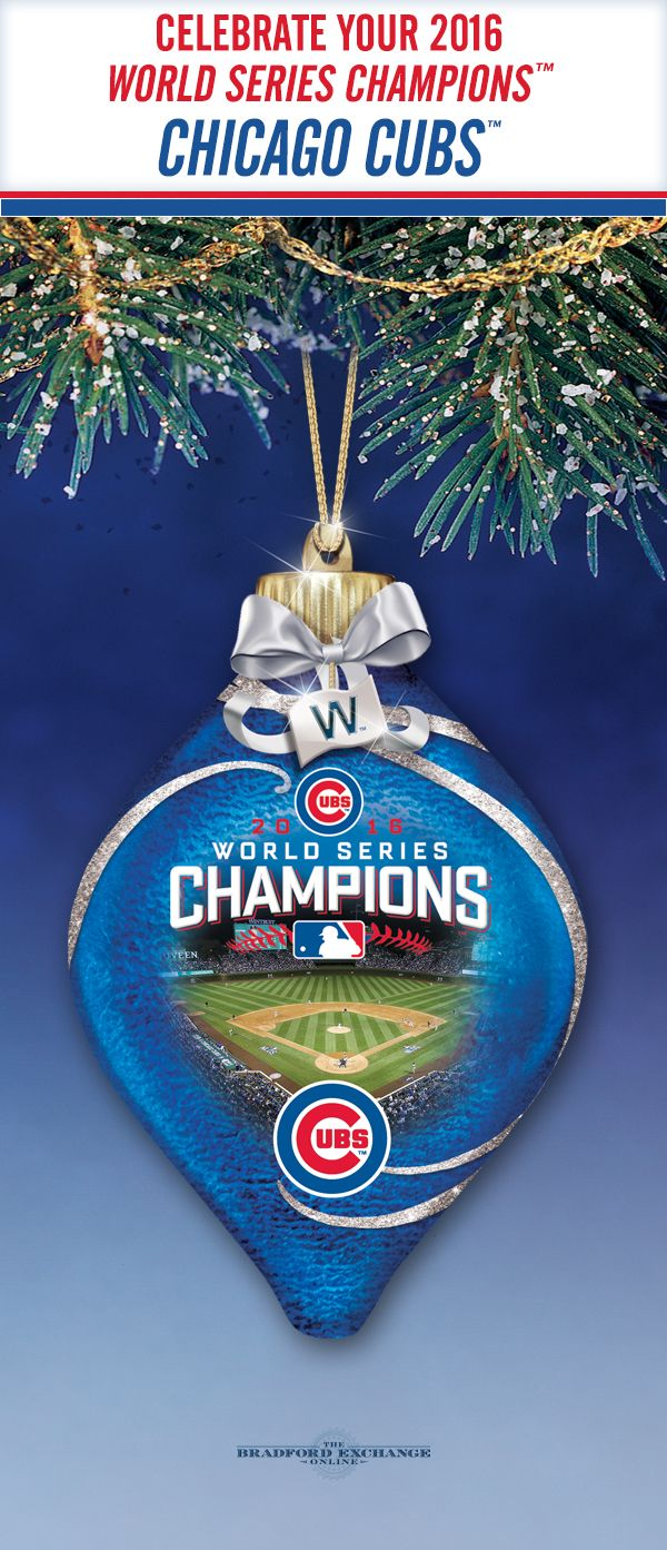 Celebrate your 2016 World Series Champions, the Chicago Cubs, for holiday seasons to come with this commemorative glass ornament that really lights up!