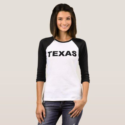 Texas Baseball Tee - black and white gifts unique special b&w style